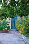 SICILY  ITALY: CASA CUSENI IN TAORMINA - TERRACOTTA PATIO / PATH TO KITSONS STUDY - BLUE DOOR  RAISED BED  MEDITERRANEAN  TROPICAL  EXOTIC
