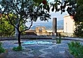 SICILY  ITALY: CASA CUSENI IN TAORMINA - THE UPPER TERRACE WITH POOL  PEBBLE MOSAIC FLOOR AND VIREWS TO MOUNT ETNA - MEDITERRANEAN