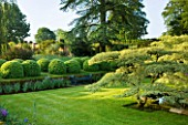 ROCKCLIFFE HOUSE, GLOUCESTERSHIRE: THE LILY POND WITH CORNUS CONTROVERSA VARIEGATA, LAWN AND CLIPPED TOPIARY BALLS AND CEDAR OF LEBANON, SUMMER