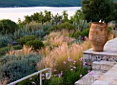CORFU, GREECE - THE KASSIOPIA ESTATE: GARDEN SURROUNDING THE VILLA AND TERRACE PLANTED WITH STIPA TENUISSIMA, CICTUS, SANTOLINA AND TULBAGHIA VIOLACEA