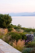 CORFU, GREECE - THE KASSIOPIA ESTATE. VIEW OF GARDEN FROM THE TERRACE LOOKING OUT TO SEA WITH STIPA TENUISSIMA AND TULBAGHIA VIOLACEA