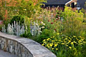 HORATIOS GARDEN  SALISBURY HOSPITAL  WILTSHIRE  - DESIGNER CLEEVE WEST - LIMESTONE WALL WITH BORDER OF STACHYS BYZANTINA SILVER CARPET  ALLIUMS  FENNEL  ACHILLEA MOONSHINE