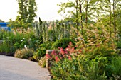 HORATIOS GARDEN  SALISBURY HOSPITAL  WILTSHIRE  - DESIGNER CLEEVE WEST - LIMESTONE WALL WITH BORDER OF ARUNCUS DIOICUS HORATIO  ACANTHUS MOLLIS AND CENTRANTHUS RUBER
