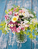 COMMON FARM FLOWERS, SOMERSET, SUMMER: FRESHLY CUT FLOWERS IN GLASS CONTAINER ON BLUE BENCH / TABLE - FLOWER, BOUQUET, DISPLAY, ARRANGEMENT, FLORAL, SWEET WILLIAM, ALCHEMILLA