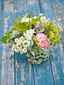 COMMON FARM FLOWERS, SOMERSET, SUMMER: FRESHLY CUT FLOWERS IN GLASS CONTAINER ON BLUE BENCH / TABLE - FLOWER, BOUQUET, DISPLAY, ARRANGEMENT, FLORAL, ROSES, GOLDEN HOP, ALCHEMILLA