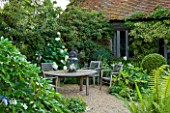 WOOLSTONE MILL HOUSE, OXFORDSHIRE: SEATING AREA WITH TABLE & CHAIRS WITH WHITE-FLOWERED THEME.SCHIZOPHRAGMA HYDRANGEOIDES, HYDRANGEA ANNABELLE AND AGAPANTHUS ENIGMA. RELAX,CALM