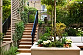 PRIVATE GARDEN LONDON: DESIGNER STEPHEN WOODHAMS - TOWN GARDEN - ROOF GARDEN WITH SEATING AND PAVING, STEPS, TRELLIS, MIRROR, RAISED BED WITH PLATANUS X ACERIFOLIA, CONTEMPORARY