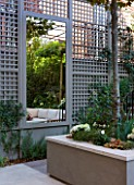 PRIVATE GARDEN LONDON: DESIGNER STEPHEN WOODHAMS - TOWN GARDEN - ROOF GARDEN WITH TRELLIS, MIRROR AND RAISED BED PLANTED WITH PLATANUS X ACERIFOLIA - CONTEMPORARY, MINIMAL, TRELLIS