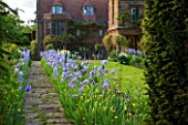 WARDINGTON MANOR, OXFORDSHIRE: THE LAND GARDENERS: PATH IN SPRING LINED WITH BLUE IRIS - FRAME, FRAMING, PATH, STONE, HOUSE, COUNTRY GARDEN