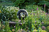 OLD NETLEY MILL, SHERE, SURREY: BORDER BESIDE PATH WITH MAYA SCULPTURE BY DAVID HARBER, ALLIUMS, POPPIES, ALCHEMILLA AND FOXGLOVES  - GARDEN, FLOWER, JUNE, SUMMER
