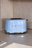 CIUTADELLA MENORCA, SPAIN: EVELYNE MANDEL HOUSE - BLUE AND WHITE KITCHEN - BLUE SMEG TOASTER