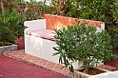 JONATHAN BAILLIE GARDEN, ALAIOR, MENORCA: TERRACOTTA TILED SEAT / BENCH. A PLACE TO SIT.