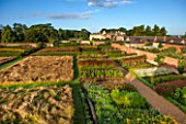 LAMPORT HALL, NORTHAMPTONSHIRE: AERIAL VIEW OF THE WALLED CUTTING FLOWER GARDEN WITH THE HALL IN THE BACKGROUND - FORMAL, HISTORIC, CLASSIC ENGLISH GARDEN