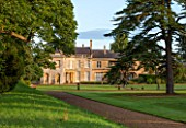 LAMPORT HALL, NORTHAMPTONSHIRE: THE HALL WITH LARGE CEDAR TREE ON LAWN - FORMAL, HISTORIC HOUSE, AUGUST, SUMMER, ENGLISH COUNTRY GARDEN