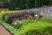 LAMPORT HALL, NORTHAMPTONSHIRE: THE WALLED CUTTING GARDEN / KITCHEN GARDEN: BLOCK PLANTING OF HOLLYHOCKS AND JOE PYE WEED. BORDER, SUMMER, ENGLISH GARDEN, AUGUST