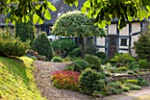 THE LYNDALLS, HEREFORDSHIRE: FRONT OF HOUSE WITH GRAVEL PATH - SEPTEMBER, CLASSIC COUNTRY GARDEN