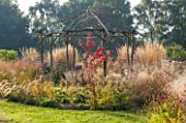 ELLICAR GARDENS, YORKSHIRE - DESIGNER SARAH MURCH - AUTUMN. OCTOBER - GRASSES - CALAMAGROSTIS X ACUTIFLORA KARL FOERSTER - SURROUND COPPICED ASH AND HAZEL RUSTIC GAZEBO, COUNTRY