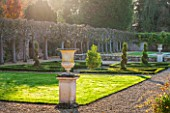 ARLEY ARBORETUM, WORCESTERSHIRE: THE ITALIAN WALLED GARDEN IN AUTUMN WITH CONTAINERS AND PARTERRE - FORMAL GARDEN, OCTOBER, CLASSIC GARDEN, ITALIANATE