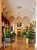 CASTLE HOWARD, YORKSHIRE: CHRISTMAS - LONG ROOM WITH CHRISTMAS TREES IN VERSAILES TUBS IN THE LONG GALLERY  - DECORATIVE, ORNAMENT, WINTER
