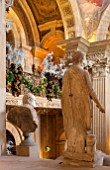 CASTLE HOWARD, YORKSHIRE: CHRISTMAS - THE BALCONY OF THE GREAT HALL DECORATED FOR CHRISTMAS - GARLANDS AND FRONDS OF ASPARAGUS - DECORATIVE, ORNAMENT, FESTIVE, WINTER, NOVEMBER