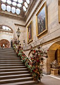CASTLE HOWARD, YORKSHIRE: CHRISTMAS - THE GRAND STAIRCASE DECORATED FOR CHRISTMAS - DECORATIVE, ORNAMENT, WINTER, NOVEMBER, STEPS