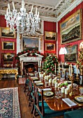 CASTLE HOWARD, YORKSHIRE: CHRISTMAS - THE CRIMSON DINING ROOM DECORATED FOR CHRISTMAS WITH CANDLES - DECORATIVE, ORNAMENT, WINTER, NOVEMBER, FIREPLACE, RED DAMASK