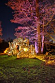 PAINSHILL PARK, SURREY: PART OF THE CRYSTAL GROTTO  LIT UP AT NIGHT - LIGHTING, FOLLY, FOLLIES, HISTORIC, LAKE, WATER, LANDSCAPE, WINTER, DECEMBER, CHRISTMAS, TREE, TREES