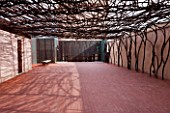 MUCEM, MARSEILLES, FRANCE: THE JARDIN DE MIGRATIONS, FORT SAINT - JEAN. AMAZING METAL PERGOLA WITH BENCH / SEAT. ROOF GARDEN, TERRACE. A PLACE TO SIT