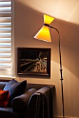 SALLY STOREY HOUSE, LONDON: OPEN PLAN SITTING ROOM / HALL WITH SETTEE, WINDOW BLINDS AND STANDARD LAMP / LIGHT