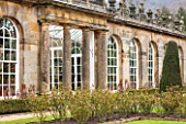 CHATSWORTH HOUSE, DERBYSHIRE: THE GREENHOUSE BUILT FOR FIRST DUKE OF DEVONSHIRE - IT HOUSES PART OF THE CAMELLIA COLLECTION. GLASS HOUSE, GLASSHOUSE, BUILDING, ARCHITECTURE