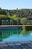 LA JEG, PROVENCE, FRANCE: DESIGNER ANTHONY PAUL - SWIMMING POOL AND REFLECTION OF SKY. ABBAYE DU BARROUX. MAY, MEDITERRANEAN, WATER, ORNAMENT, GARDEN, REFLECTIONS, REFLECTED
