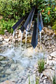 CHELSEA FLOWER SHOW 2016: TELEGRAPH GAREDEN DESIGNED BY ANDY STURGEON -METAL WATER SPOUTS - FOUNTAIN, WATER FEATURE