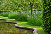 BRYANS GROUND, HEREFORDSHIRE: THE SERPENTINE CANAL AND ORCHARD IN LATE SPRING WITH APPLE TREES - BLUE FLOWERS OF IRIS SIBIRICA PAPILLON - SPRING, COUNTRY GARDEN, FLOWERING, GRASS