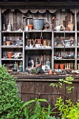 BRYANS GROUND, HEREFORDSHIRE: OLD WOODEN DRESSER WITH COLLECTED ITEMS - DECORATION, DECORATIVE, GARDEN, ORNAMENT