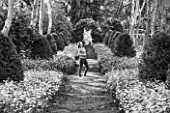 BLACK AND WHITE PHOTOGRAPH OF GARDEN WRITER AND BLOGGER ANNETTE WARREN, AT BRYANS GROUND, HEREFORDSHIRE