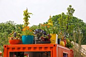 CHELSEA FLOWER SHOW 2016: RHS GARDENING GREY BRITAIN FOR HEALTH, HAPPINESS AND HORTICULTURE GARDEN DESIGNED BY ANNE-MARIEPOWELL. ROOF GARDEN, CONTAINERS, EDIBLE, VEGETABLES