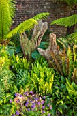 ARUNDEL CASTLE GARDENS, WEST SUSSEX: THE STUMPERY  WITH FERNS - SUMMER, TREE, TRUNK, SHADE, SHAFY, TREES, TRUNKS, TREE FERN, DICKSONIA ANTARCTICA