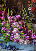 CHATSWORTH HOUSE, DERBYSHIRE: FLORABUNDANCE - TIERED FLORAL TROUGH, REFLECTING DUTCH/FLEMISH ARTWORKS - WITH PINK ROSES, HYDRANGEAS, GLADIOLI AND ECHEVERIA FROM THE GLASSHOUSE