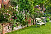 GLYNDEBOURNE, EAST SUSSEX: THE DOUBLE HERBACEOUS BORDERS WITH WHITE FOXTAIL LILIES - EREMERUS, SALVIAS, PINK ROSES - WALL, BRICK, BORDER, SUMMER, BENCH, WOODEN, LAWN
