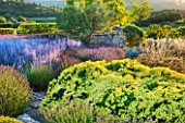 LA JEG, PROVENCE, FRANCE: DESIGNER ANTHONY PAUL - BLUE AND YELLOW PLANTING OF PEROVSKIA , LAVENDER - LAVENDULA GROSSO AND SANTOLINA CHAMAECYPARISSUS LEMON QUEEN