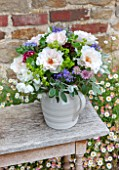 THE REAL FLOWER COMPANY: FLORAL ARRANGEMENT. WHITE PORCELAIN JUG WITH ROSA MARGARET MERRILL AND WILDFLOWER MIX OF ALCHEMILLA,ASTRANTIA,SENECCIO AND MINT.FRAGRANT,SUMMER,VINTAGE.