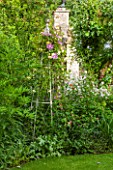 THE LODGE, BURFORD, OXFORDSHIRE: GARDEN BORDER WITH METAL OBELISK WITH CLEMATIS NELLY MOSER, YELLOW TREE PEONY AND WHITE-FLOWERED SWEET ROCKET
