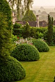 GREYHOUNDS, BURFORD, OXFORDSHIRE: BOX DOMES AND BORDER IN CLASSIC, COUNTRY GARDEN. INFORMAL PLANTING, SUMMER, LAWN.