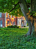MORTON HALL GARDENS, WORCESTERSHIRE: THE FRONT OF THE HALL - BOX TOPIARY SHAPES - DAWN LIGHT, MORNING, ENGLISH, GARDEN, CLASSIC, TOPIARY, SUMMER, CHESTNUT TREE, GREEN