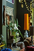 ABIGAIL AHERN HOUSE, LONDON: THE LIVING ROOM WITH BURNT ORANGE LAMPSHADE, MIRROR, DARK, INTERIOR, SITTING ROOM, FAKE CACTUS