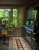 ABIGAIL AHERN HOUSE, LONDON: THE KITCHEN - INTERIOR, DARK, COOKING, FRIDGE, LIGHT, LIGHTS, LIGHTING, RUG, FAUX CACTUS