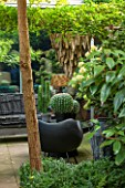 ABIGAIL AHERN HOUSE, LONDON: TOWN GARDEN - OUTDOOR PATIO AREA - WOODEN LIGHT HANGING DOWN, BLACK BENCH, FAUX CACTUS, HYDRANGEA, PATIO, PATH, PAVING
