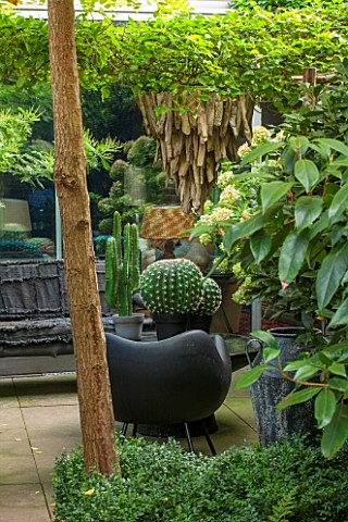 ABIGAIL_AHERN_HOUSE_LONDON_TOWN_GARDEN__OUTDOOR_PATIO_AREA__WOODEN_LIGHT_HANGING_DOWN_BLACK_BENCH_FA