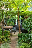 ABIGAIL AHERN HOUSE, LONDON: WOODLAND TOWN GARDEN , FAUX WOOD PATH, EUCALYPTUS, ROBINIA, YELLOW, GREEN, OASIS, LATE SUMMER, TABLE, CHAIRS, PATIO