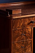 MORTON HALL, WORCESTERSHIRE: DETAIL OF WRITING DESK IN BEDROOM CA. 1870, WALNUT. ANTIQUE, COLLECTABLE.